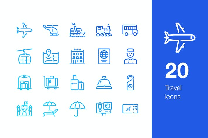 Thumbnail for 20 Travel icons