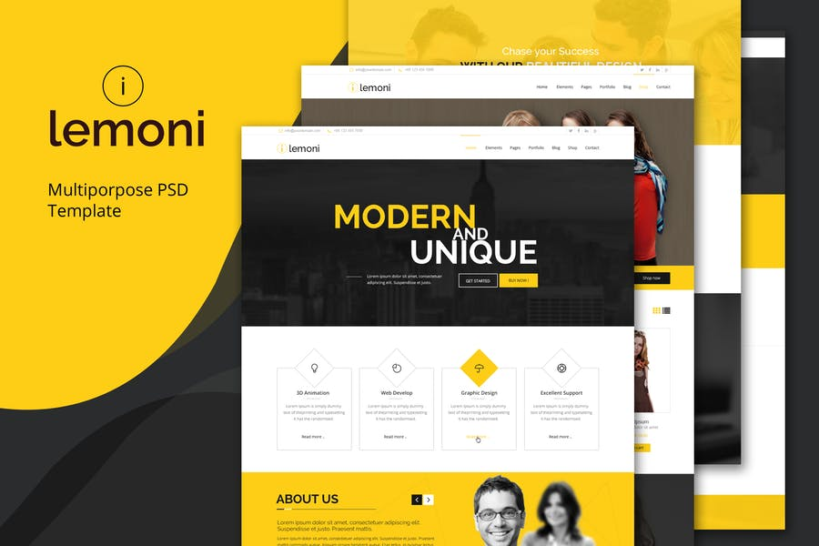 Lemoni - Pixel Perfect & Multipurpose PSD Template