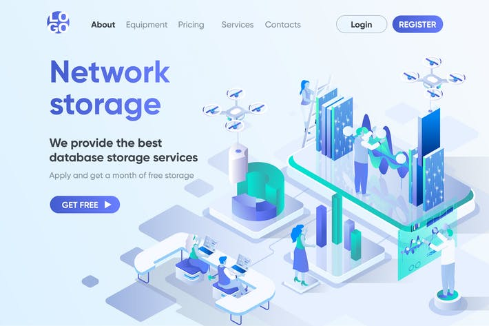 Thumbnail for Network Storage Isometric Concept Landing Page
