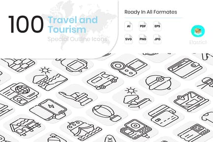 Travel and Tourism Outline Icons