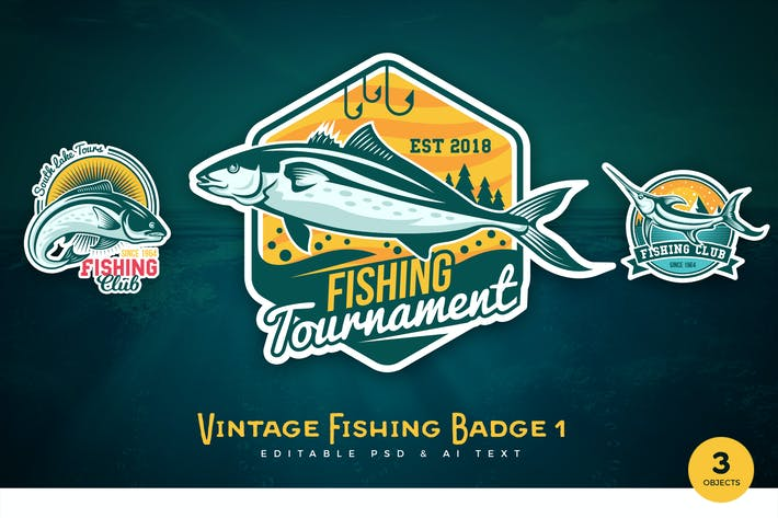Thumbnail for Vintage Fishing PSD & AI Logo Badges Vol 1