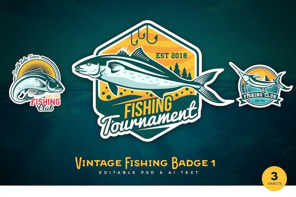 Download Vintage Fishing PSD & AI Logo Badges Vol 1 by RahardiCreative
