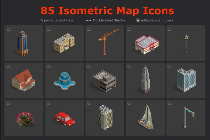 Thumbnail for 85 Isometric Map Icons Vol.02