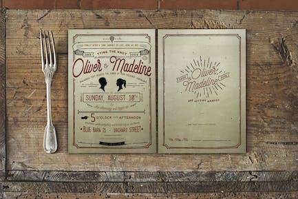 Vintage Hand Lettering Wedding Invitation