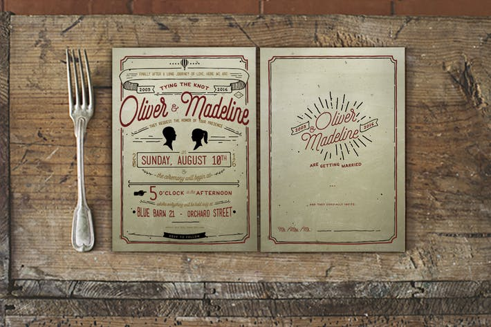 Thumbnail for Vintage Hand Lettering Wedding Invitation