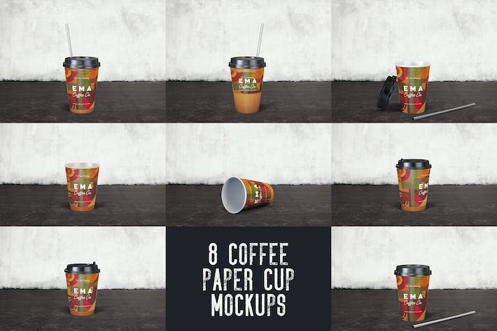 Thumbnail for 8 Coffee Paper Cup Mockups