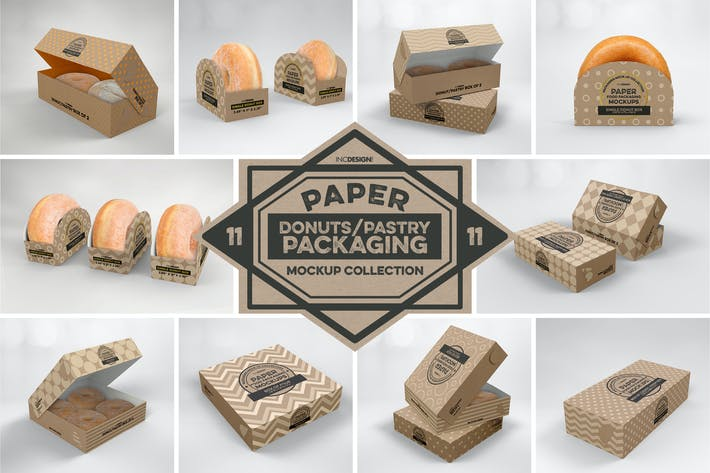 Thumbnail for Paper Food Box Packaging Mockup Collection Vol.11