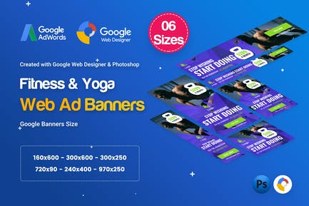 Gym & Fitness Banners Ad D34 - Google Web Design