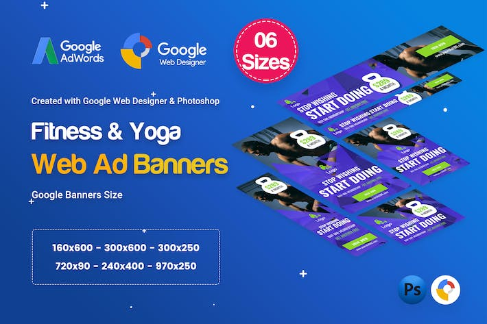 Thumbnail for Gym & Fitness Banners Ad D34 - Google Web Design