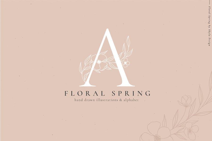 Floral Spring illustrations alphabet