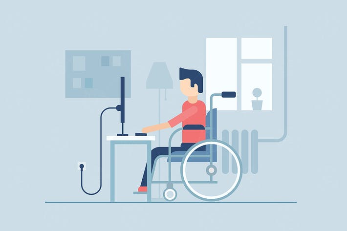 Thumbnail for Disabled man - flat design style illustration