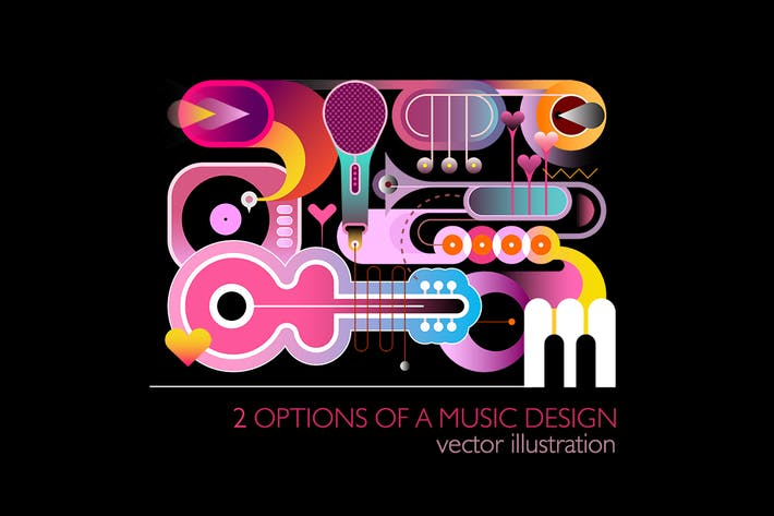 2 Abstract Music Designs, vector illustrations