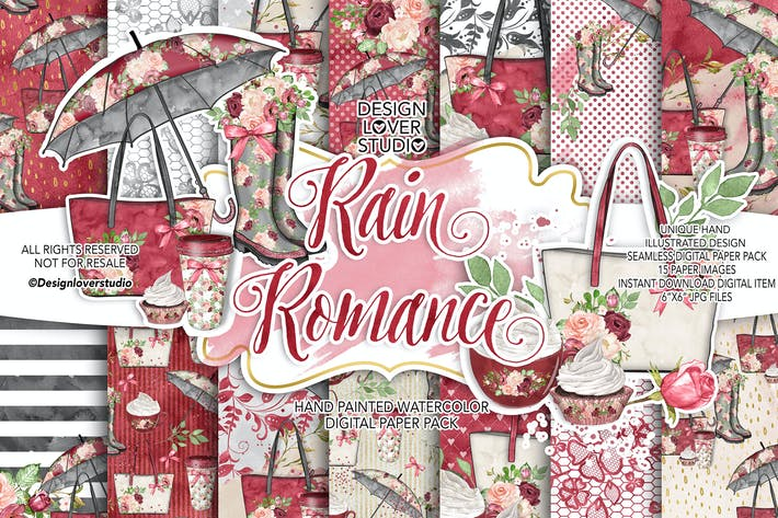 Thumbnail for Rain Romance digital paper pack