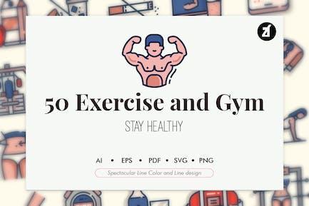 50 Elementos de ejercicio y gimnasio