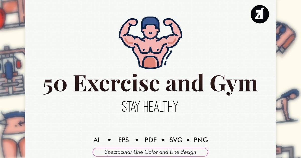 Download 50 Exercise and Gym elements by Chanut_industries