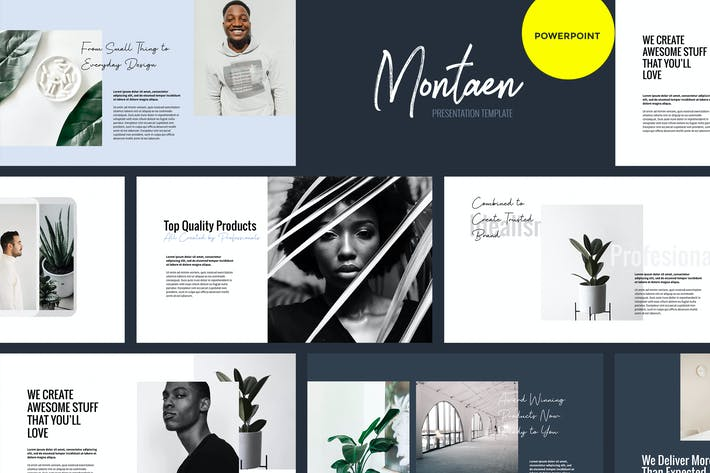 Thumbnail for Montaen - простой и минимальный Шаблон Powerpoint