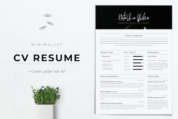 Thumbnail for Minimalist CV Resume Vol.47