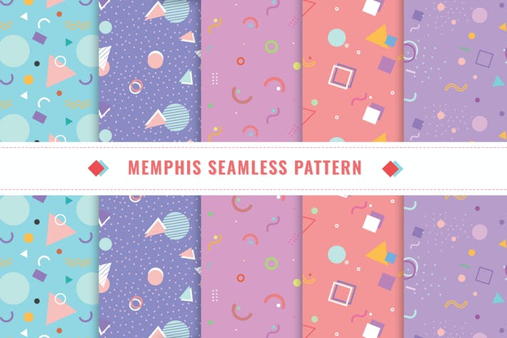 Thumbnail for Memphis Seamless Pattern Collection v2