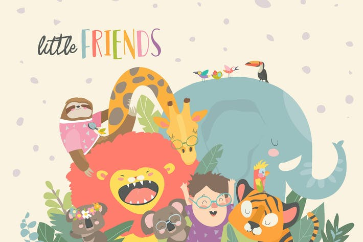 Thumbnail for Little boy with cartoon animal. Happy friends. Vec
