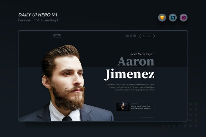 Thumbnail for DailyUI.v1 Profile Website Hero UI
