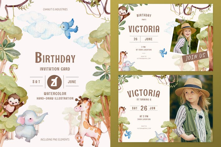 Thumbnail for Jungle theme birthday invitation card