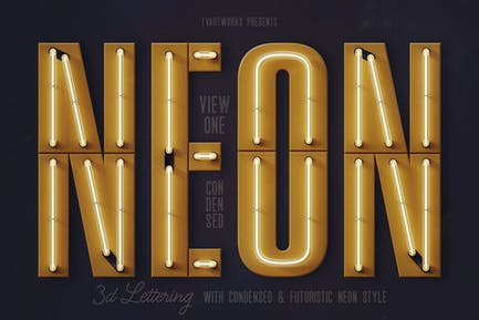 Condensed Neon 3D Lettering View 1 + Graphics