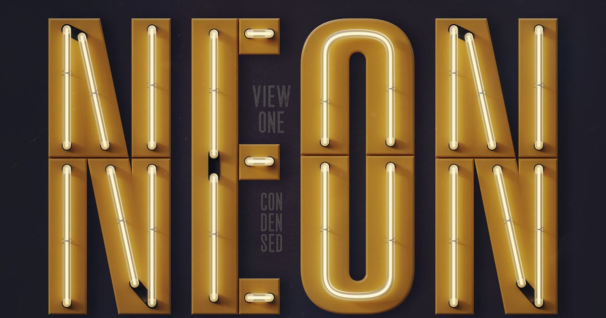 Download Condensed Neon 3D Lettering View 1 + Graphics by cruzine