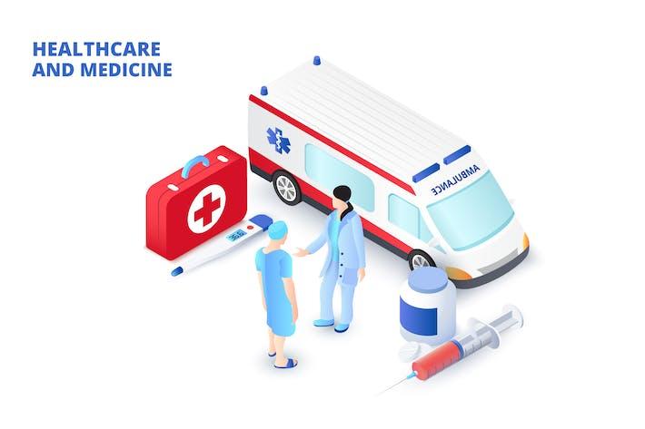 Isometrisches medizinisches Konzept