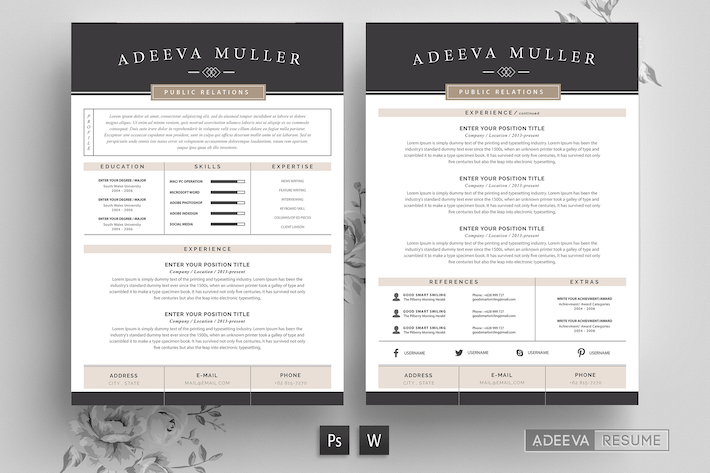 Thumbnail for Modern Resume Template Lila