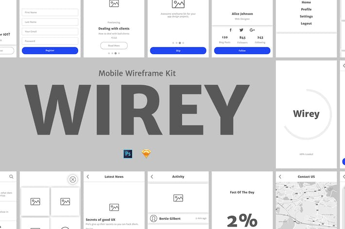 Cover Image For Wirey Mobile Wireframe Kit