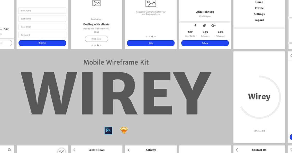 Download Wirey Mobile Wireframe Kit by Unknow