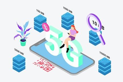 Comprar datos por Digital Wallet Isométrica