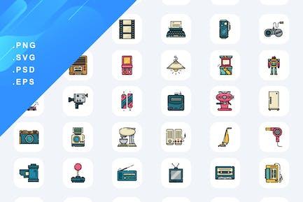 50 Retro Electronics Icons