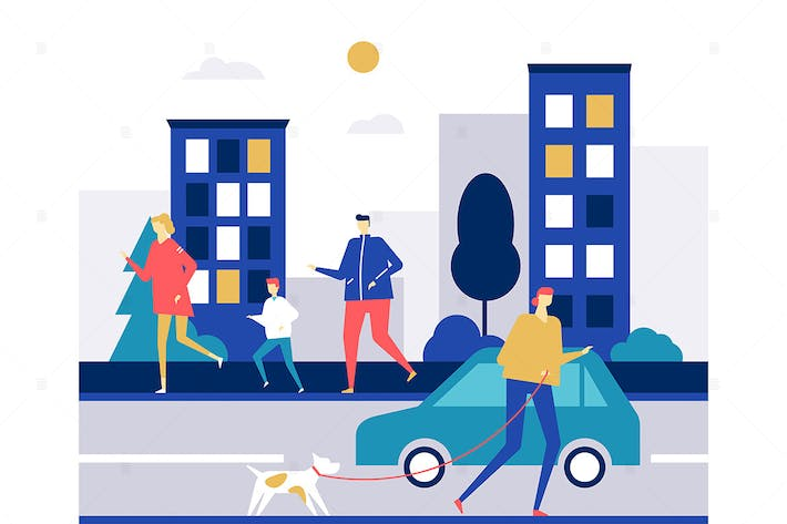 Thumbnail for People running - flat design style illustration