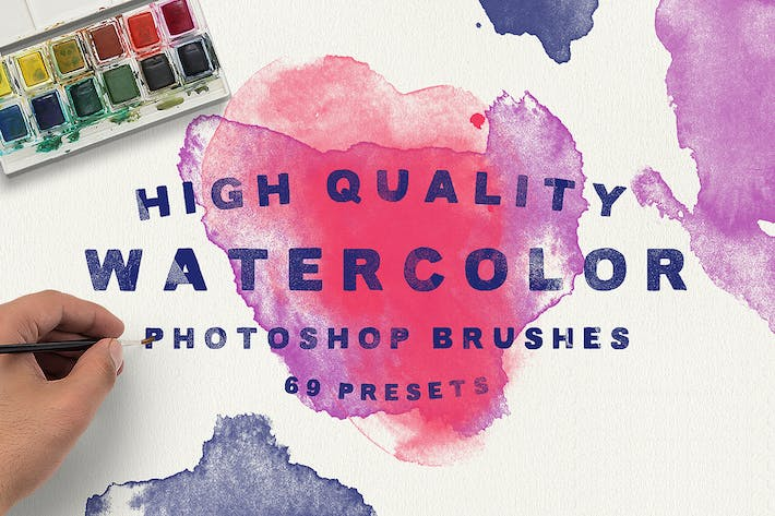 Thumbnail for 69 Watercolor Brushes for Photoshop