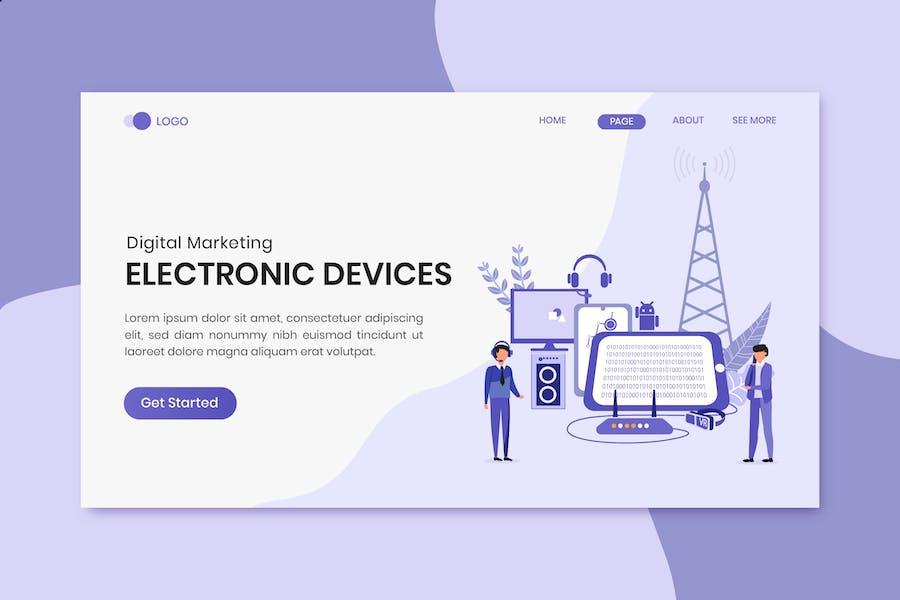 Page de destination du marketing numérique pour les appareils Électronique