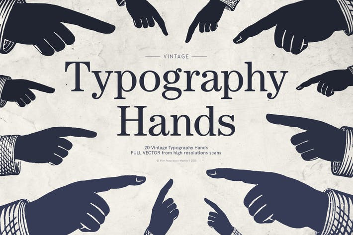 Thumbnail for Vintage Typography Hands Illustrations