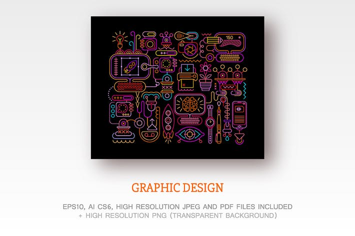 Thumbnail for Graphic Design neon colors vector illustration