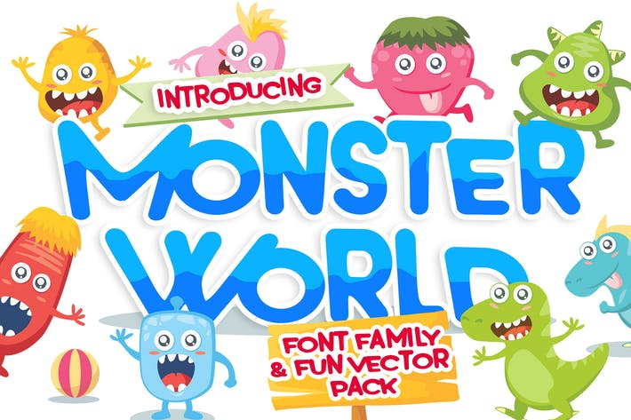 Thumbnail for Monster World font & Fun Vector Pack