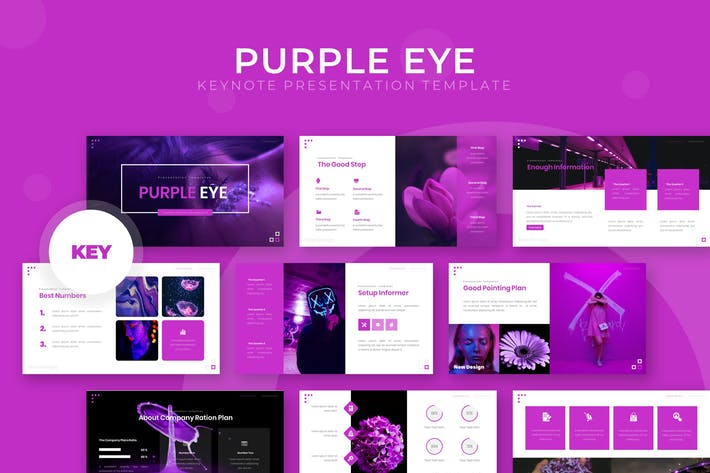 Thumbnail for Purple Eye - Keynote Template