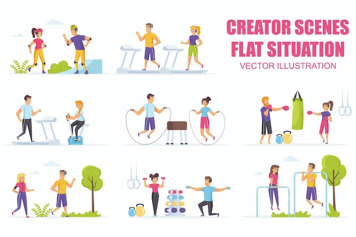 Thumbnail for Collection Outdoor Fitness Flat Scene Situation
