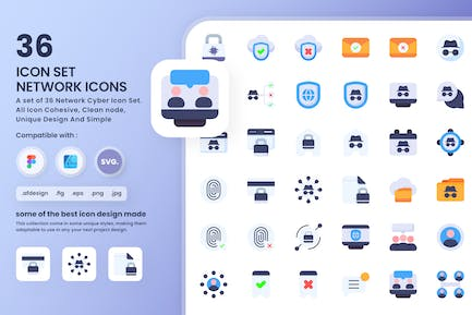 Network Cyber Icons