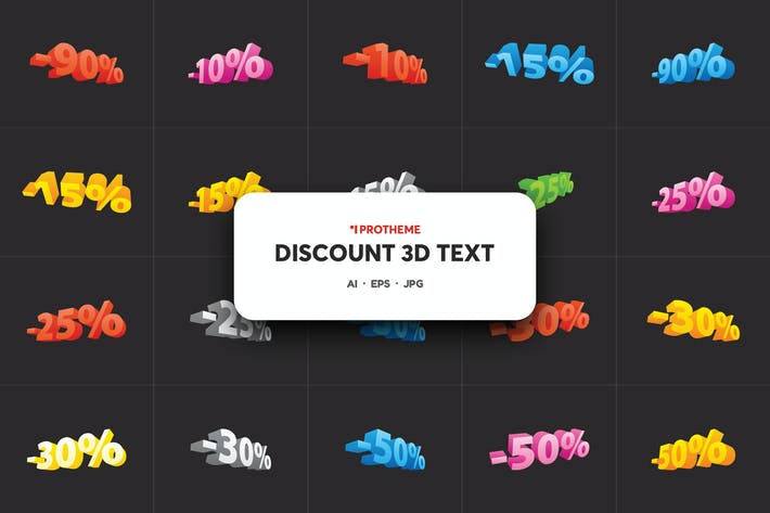Thumbnail for Discount 3D text sale with numbers