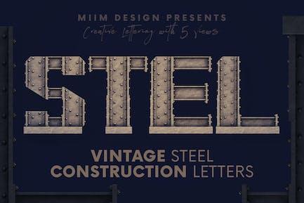 Vintage Steel Construction - 3D Lettering