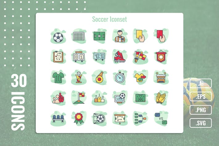 30 Iconset Soccer With Background