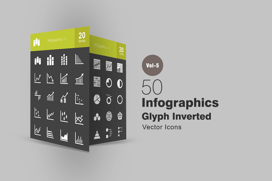 40 Infographics Glyph Inverted Icons