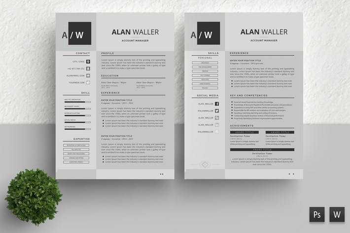 Thumbnail for Simple Resume Template Alan Walker