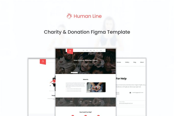 Thumbnail for Human Line - Charity Website Figma Template