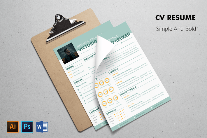 Cover Image For CV Resume Professional And Bold