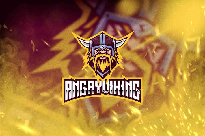 Thumbnail for Angry Viking Esport Logo Template